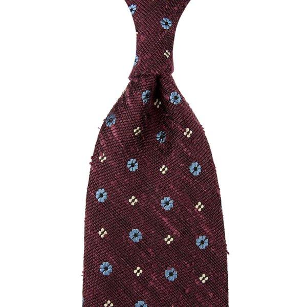 Floral Soft Shantung Silk Tie - Burgundy - Hand-Rolled