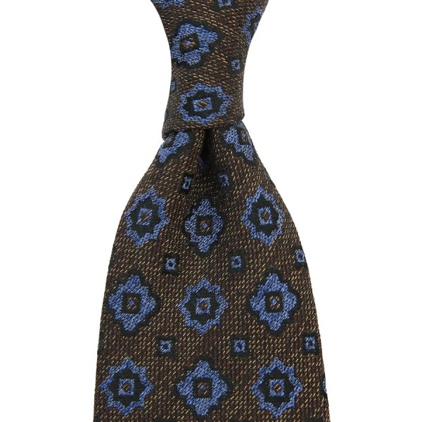 Floral Cotton / Silk Boucle Tie - Brown - Handrolled