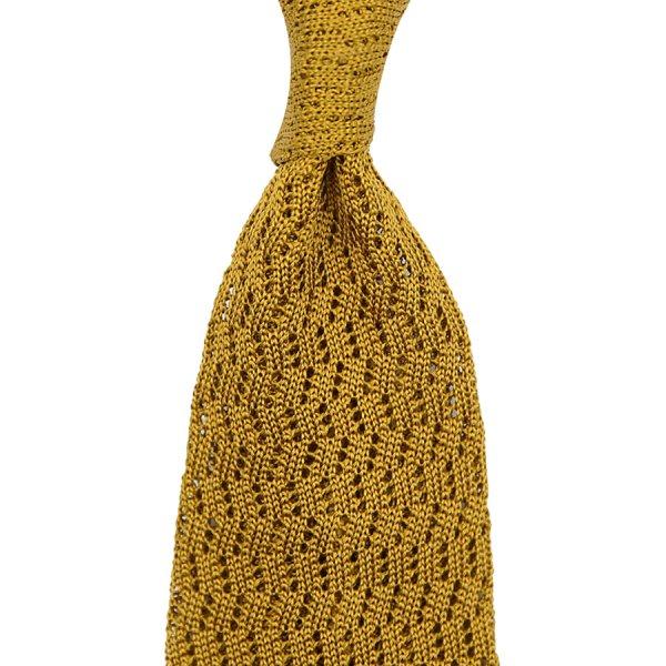 Zig Zag Silk Knit Tie - Mustard