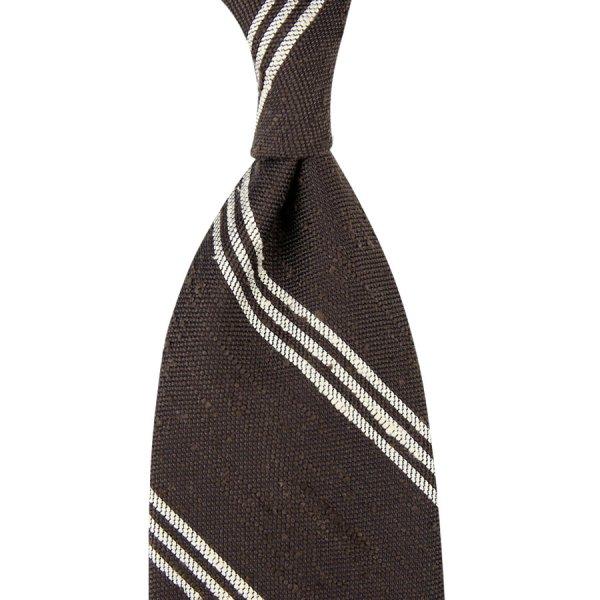 Triple Bar Soft Shantung Silk Tie - Espresso - Hand-Rolled