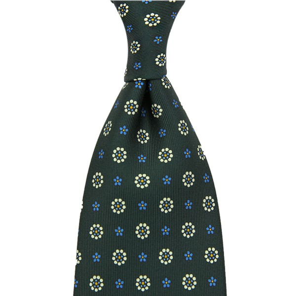 Floral Printed Silk Tie - Madder Green III - Hand-Rolled