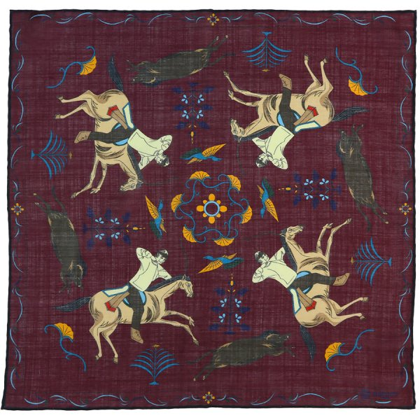 Animal Printed Wool / Silk Pocket Square - Burgundy - 40x40cm