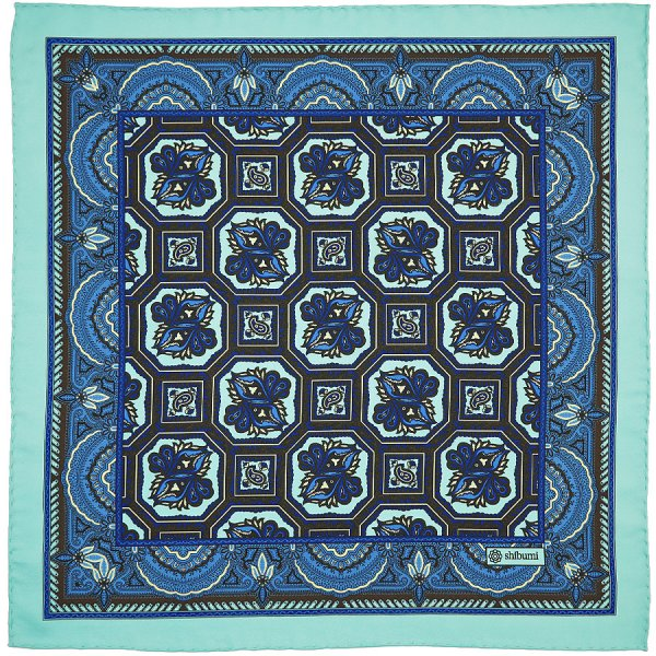 Floral Printed Silk Pocket Square - Turquoise - 40 x 40cm