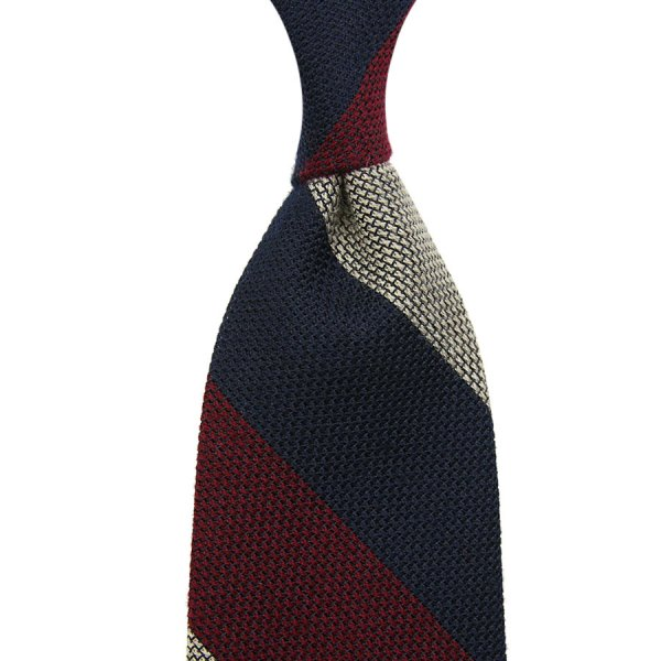 Triple Block Stripe Silk / Cashmere Grenadine Tie - Navy / Burgundy / Ivory