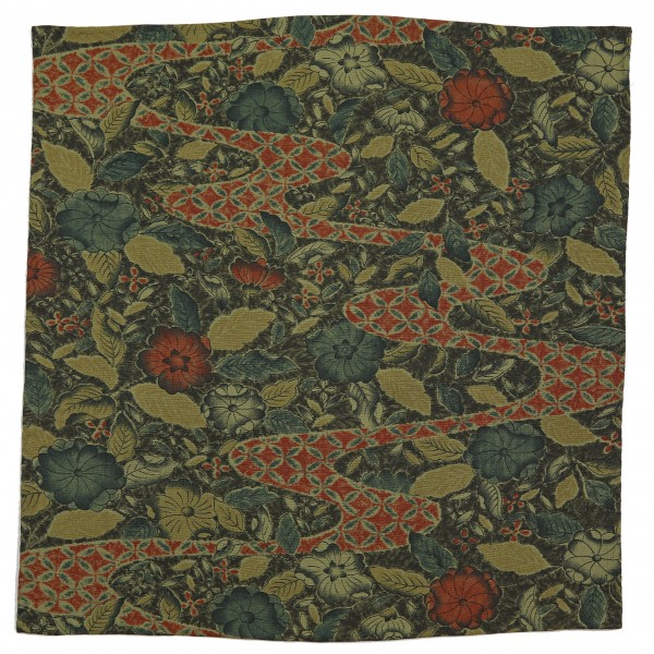 Vintage Kimono Silk Pocket Square - Forest - Handrolled