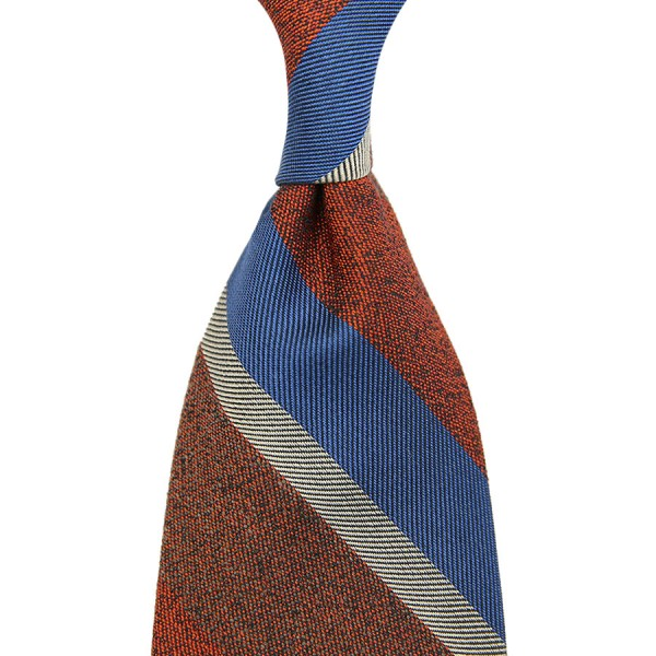 Striped Silk / Cotton Boucle Tie - Rust - Handrolled