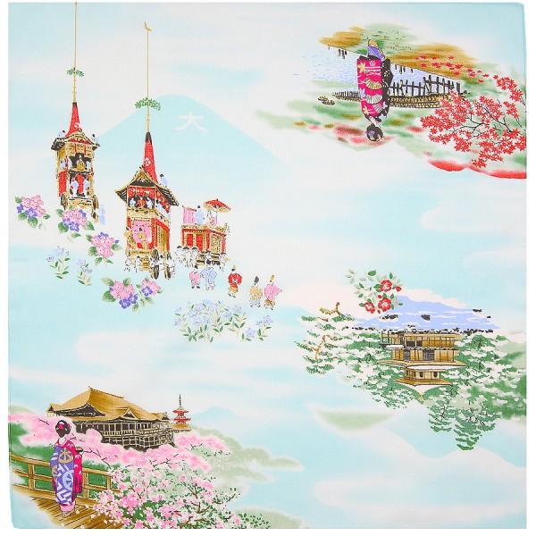 Japanese Motif Cotton Handkerchief - Sky Blue