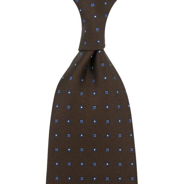 Floral Printed Silk Tie - Brown - Self-Tipped