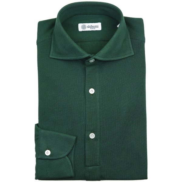 Curved Semi Spread Polo Shirt - Forest Green - Regular Fit