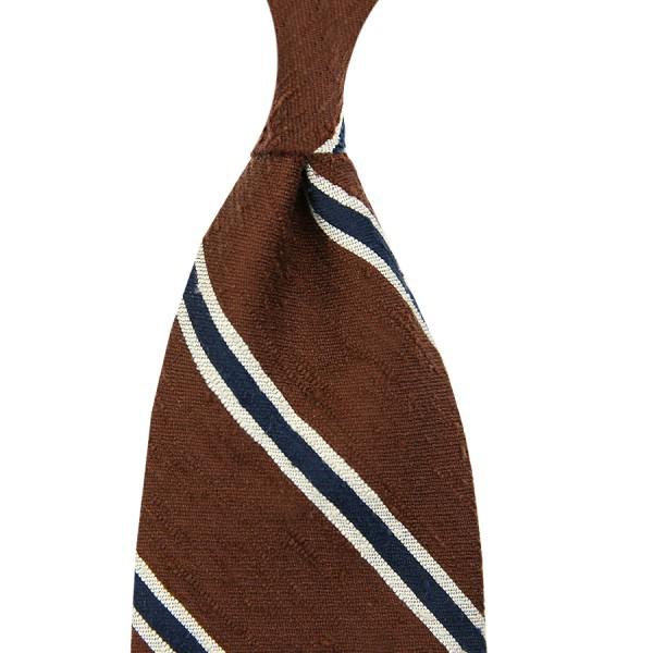 Striped Shantung Silk Tie - Brown / Ivory / Navy - Handrolled