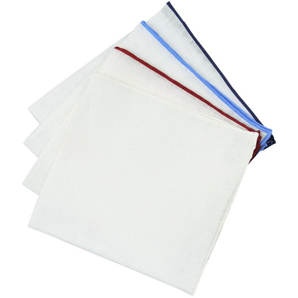 4x Irish Linen Pocket Square Set - Colors Selectable