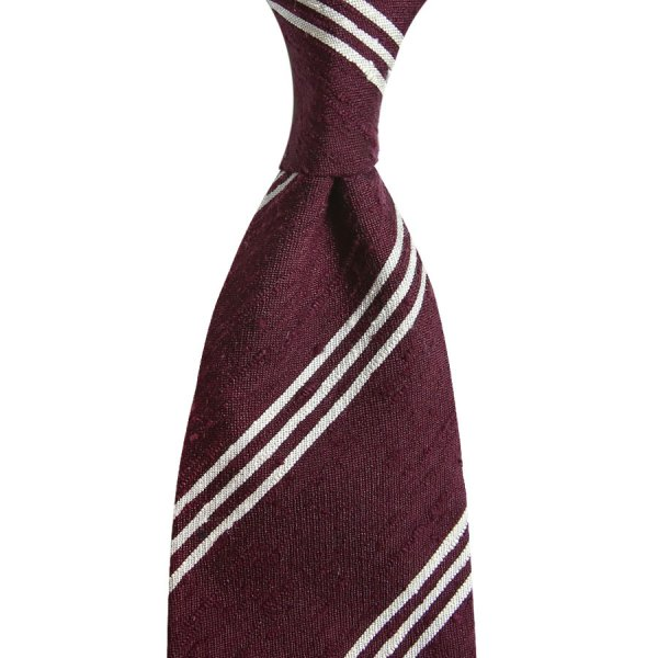 Triple Bar Shantung Silk Tie - Burgundy - Hand-Rolled