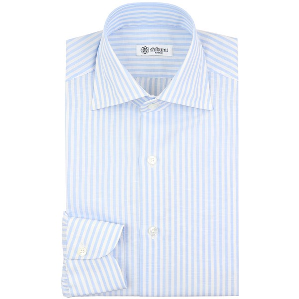 Cotton / Linen Semi Spread Shirt - White / Sky Blue - Butcher Stripe - Regular Fit