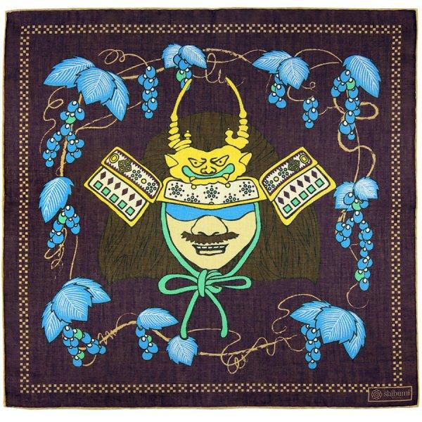 Samurai Motif Cotton Blend Pocket Square - Eggplant - 40x40cm