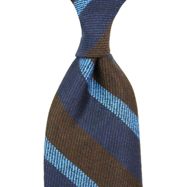 Striped Silk / Wool Tie - Navy / Brown - Handrolled