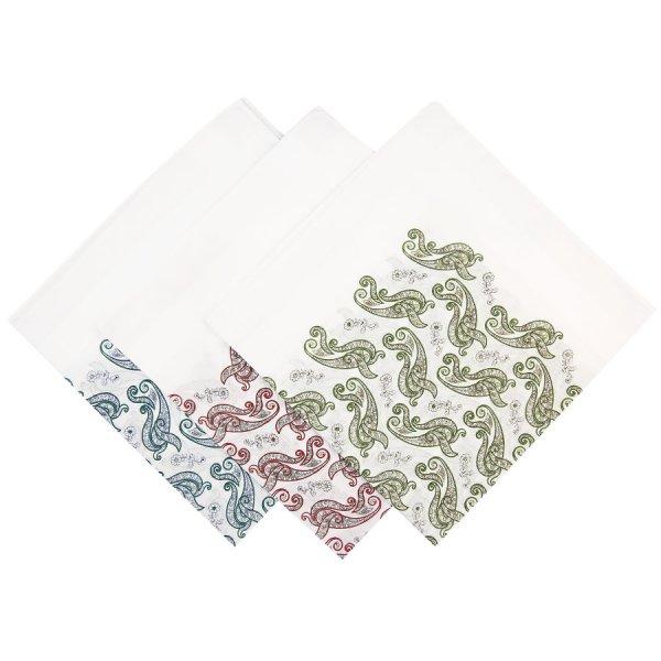 Paisley Motif Cotton Handkerchief Set - White