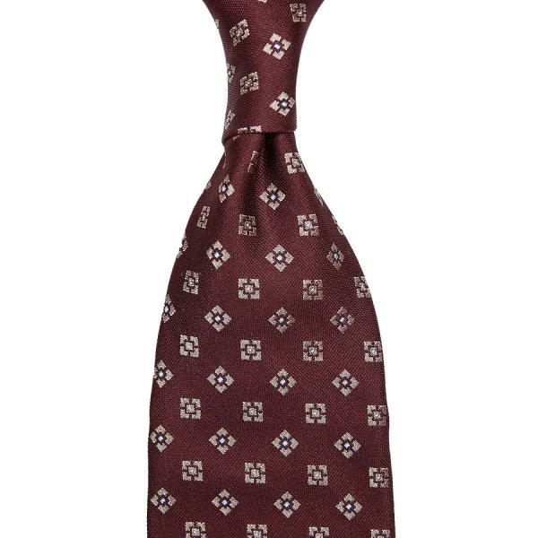Geometrical Jacquard Silk Tie - Burgundy - Hand-Rolled