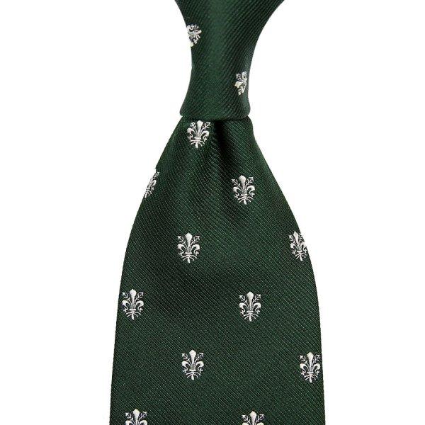 Giglio Di Firenze Silk Tie - Forest Green - Hand-Rolled