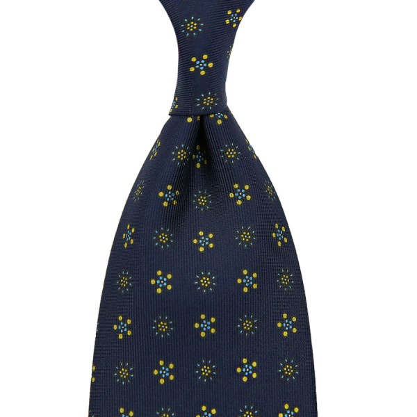 Floral Printed Silk Tie - Navy XIII - Hand-Rolled