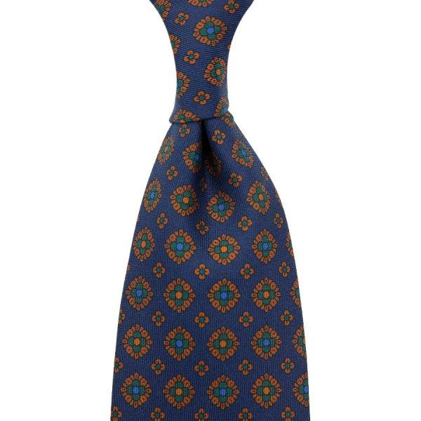 Ancient Madder Silk Tie - Navy IIX - Hand-Rolled