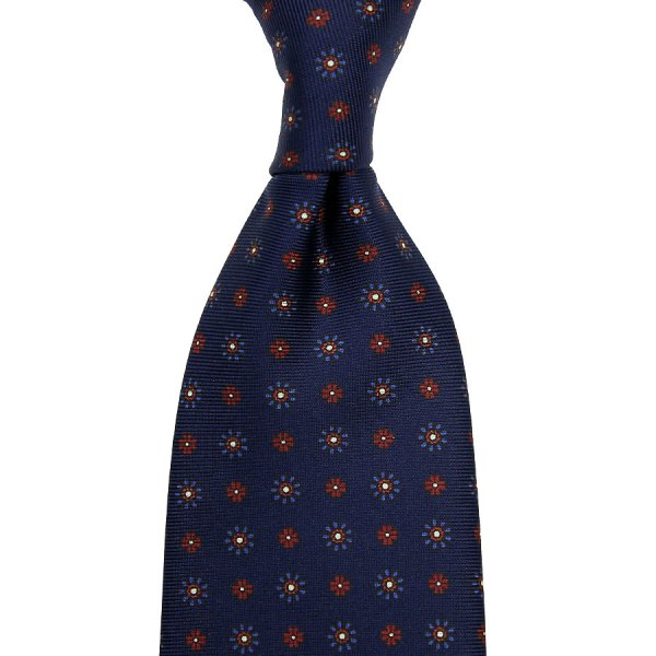 Floral Printed Silk Tie - Navy - Hand-Rolled