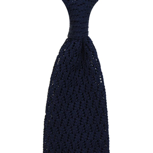 Zigzag Silk Knit Tie - Ink