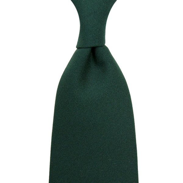 Plain Dyed Crepe Silk Tie - Forest - Hand-Rolled