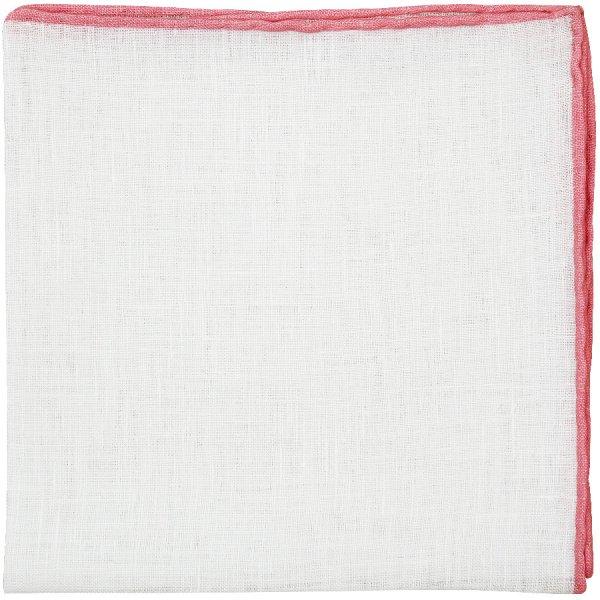 Irish Linen Shoestring Pocket Square - White / Pink