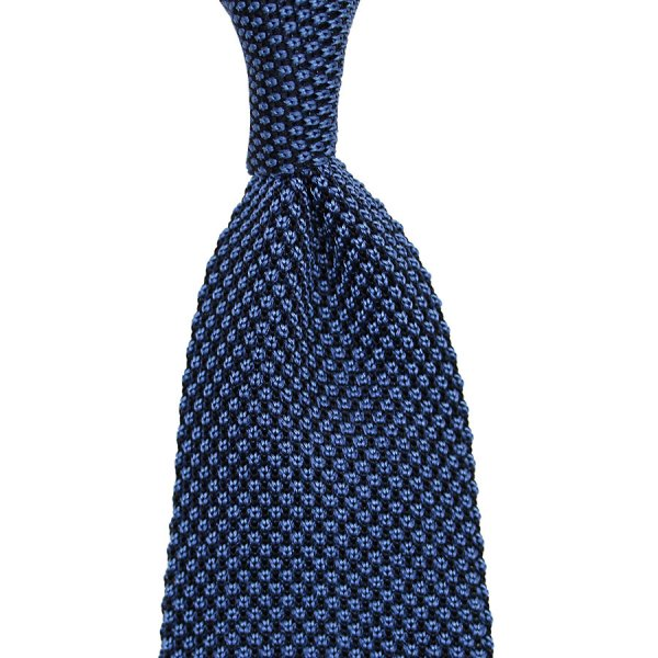 Birdseye Knit Tie - Blue - Silk
