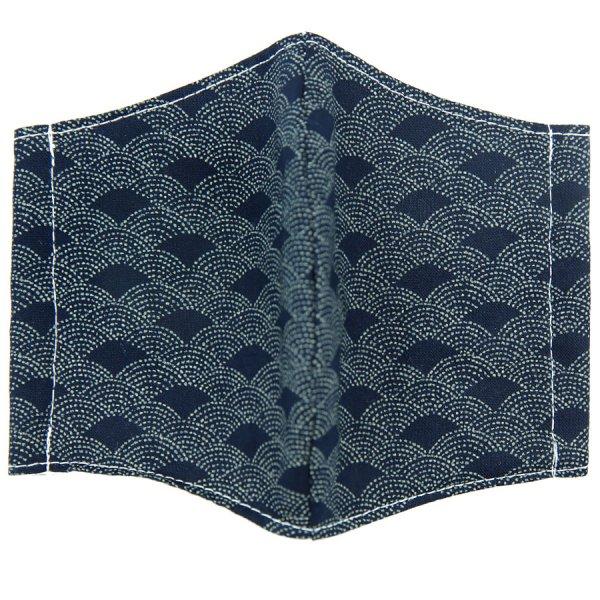 Kimono Motif Washable Cotton Mask - Navy VIII