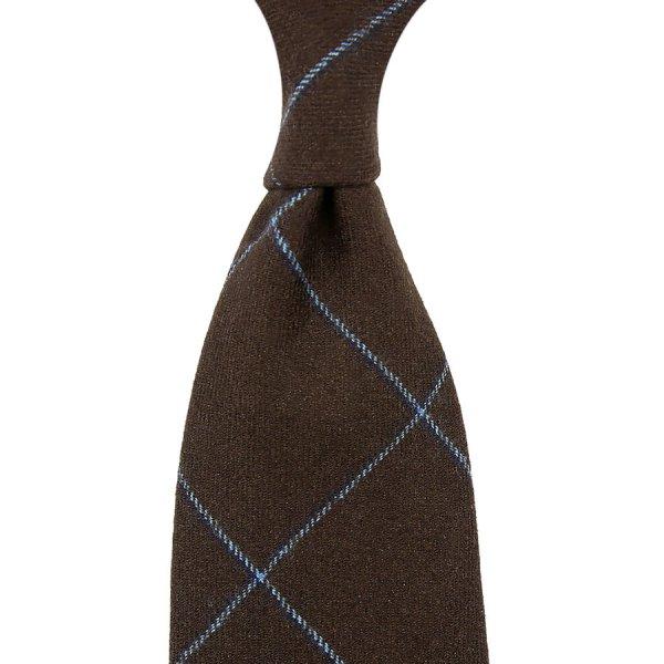 W. Bill Phoenix Checked Wool Tie - Brown - Hand-Rolled