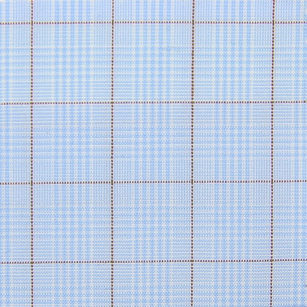 Poplin Made-To-Order Shirt - Sky Blue / Red - Glen Check