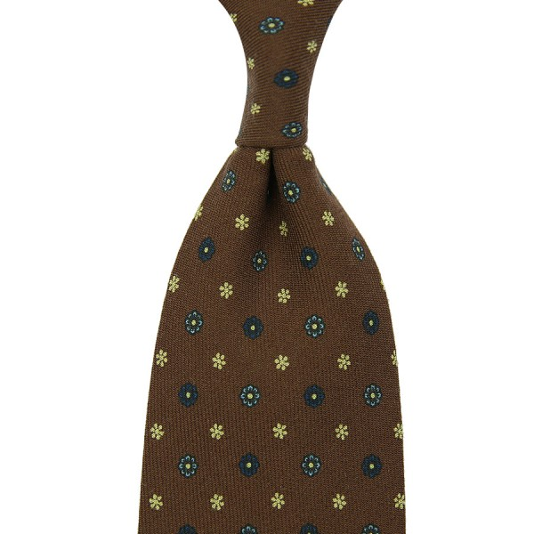 Floral Printed Wool Tie - Brown - Handrolled