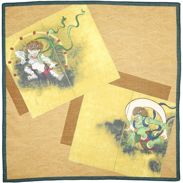 Ukiyo-e Cotton Handkerchief - Ocher - Green