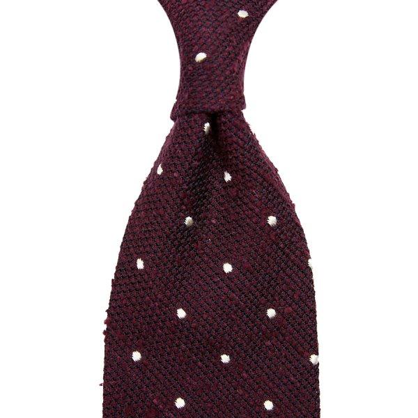Dotted Shantung Grenadine Silk Tie - Burgundy - Hand-Rolled