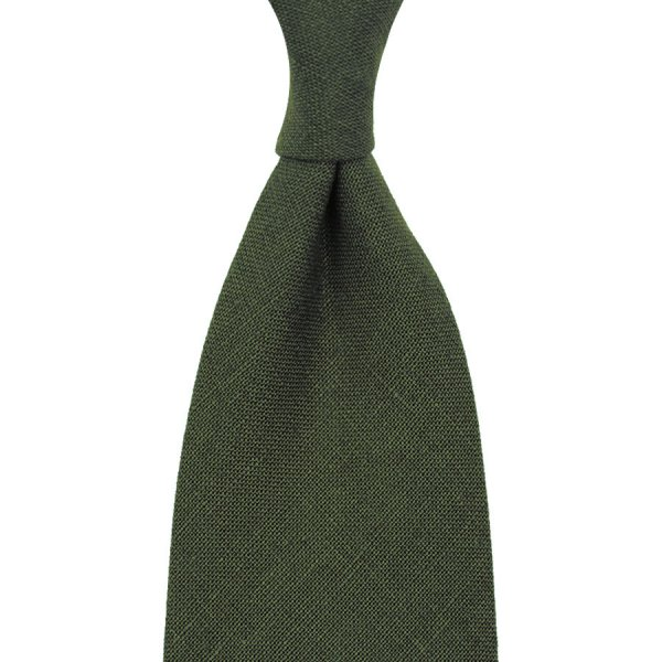 Japanese Ramie Tie - Olive - Hand-Rolled