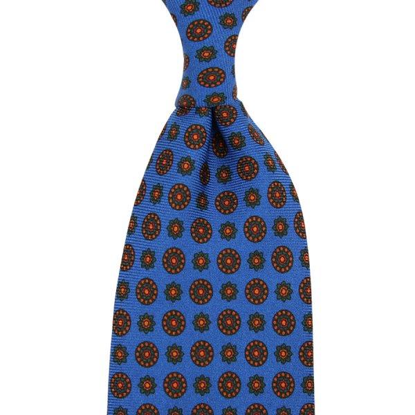 Ancient Madder Silk Tie - Madder Blue VII - Hand-Rolled