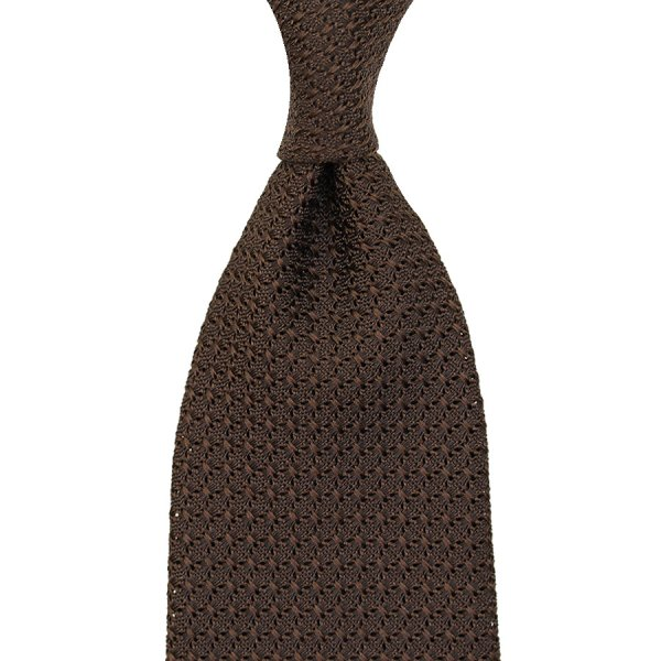 Grenadine / Garza Grossa Tie - Chocolate - Handrolled