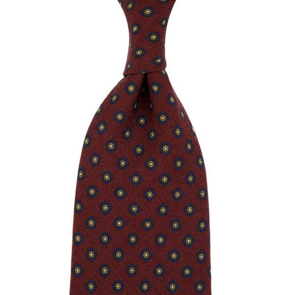 Shibumi-Flower Printed Wool Challis Tie - Burgundy