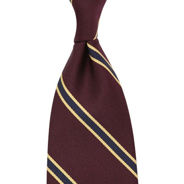 Repp Stripe Silk Tie - Burgundy / Navy - Hand-Rolled
