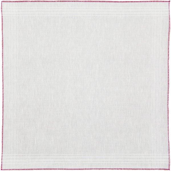 Carlo Riva Linen / Cotton Pocket Square - White / Red - 43 x 43cm