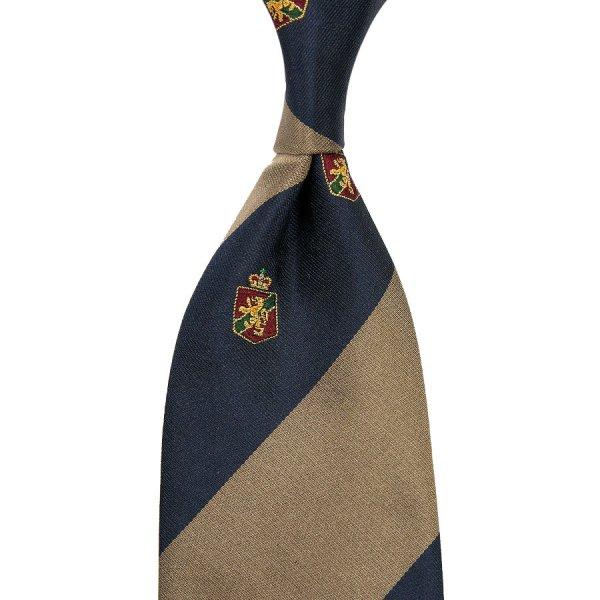 Crest Repp Silk Tie - Navy / Beige - Hand-Rolled