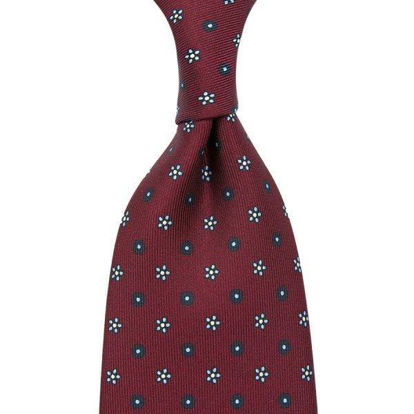 Floral Printed Silk Tie - Burgundy I - Self-Tipped