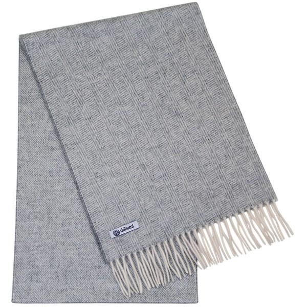 Cashmere Herringbone Scarf - Grey