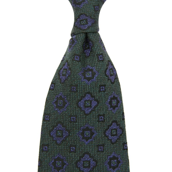 Floral Silk / Cotton Boucle Tie - Forest Green - Handrolled