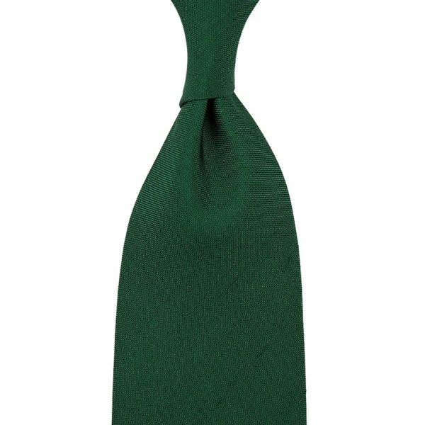 Panama Shantung Silk Tie - Green - Hand-Rolled
