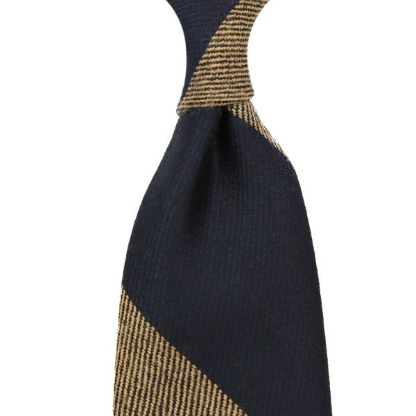 Block Stripe Wool Tie - Navy / Beige - Hand-Rolled