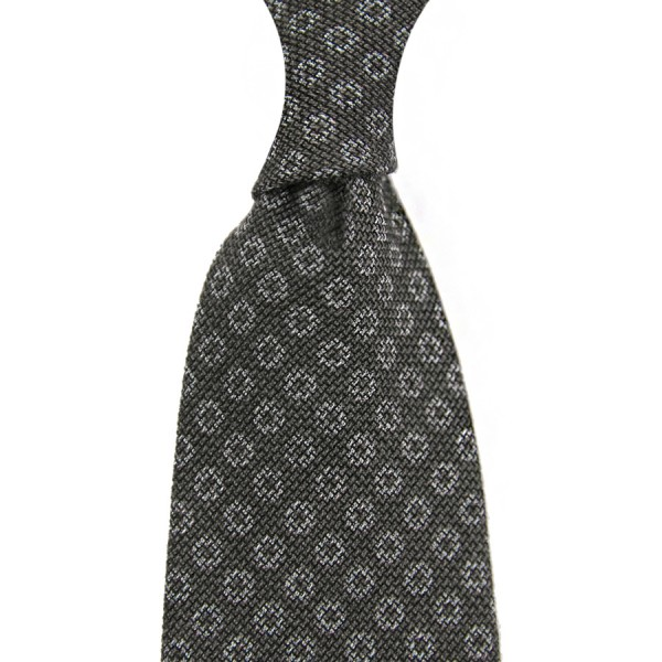 Circle Printed Grenadine Tie - Wool / Cashmere / Silk - Grey