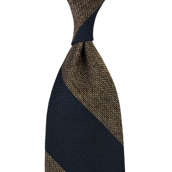 Block Stripe Grenadine / Garza Piccola Silk Tie - Navy / Beige Mottled