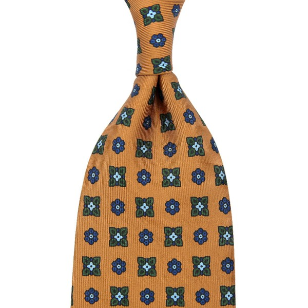 Floral Printed Silk Tie - Honey - Handrolled - 160cm